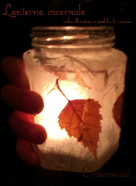 Lanterna con foglie secche