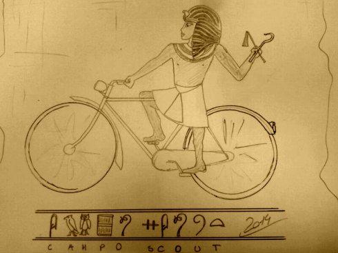 disegno faraone in bicicletta